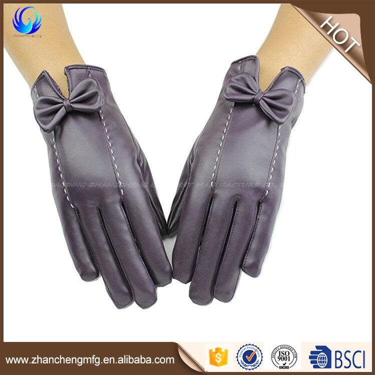Women's new design PU hand leather gloves for winter warm made in China