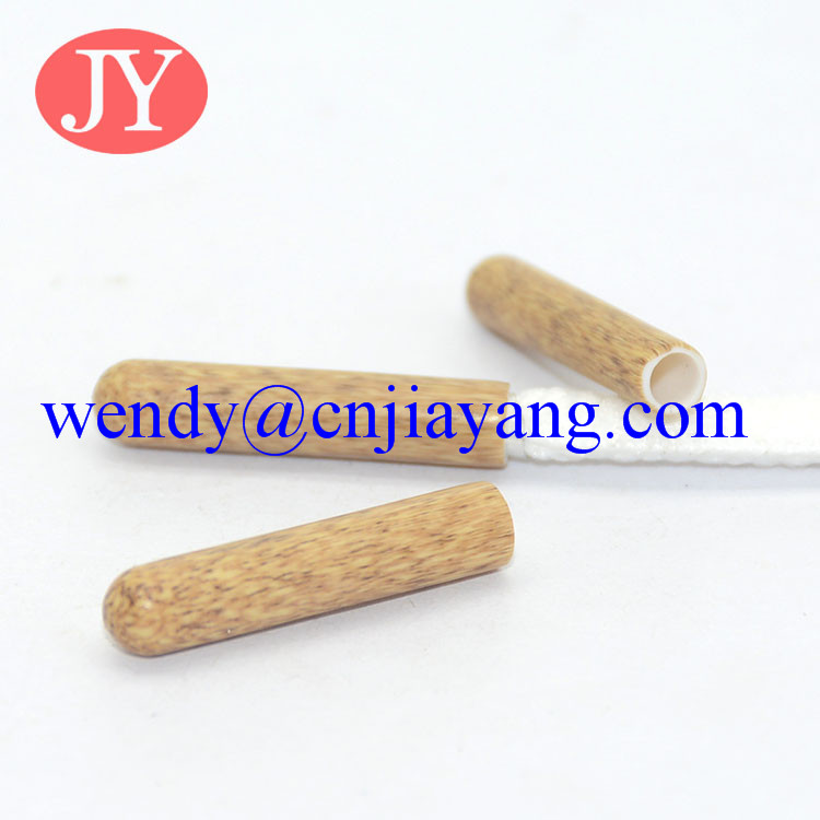 wooden texture plastic aglet ABS aglet for garment decoration