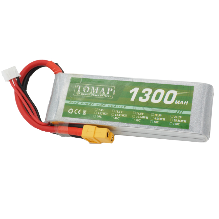 Rechargeable 3S 11.1V 1300Mah Battery Pack For Uav Drone Helicopter