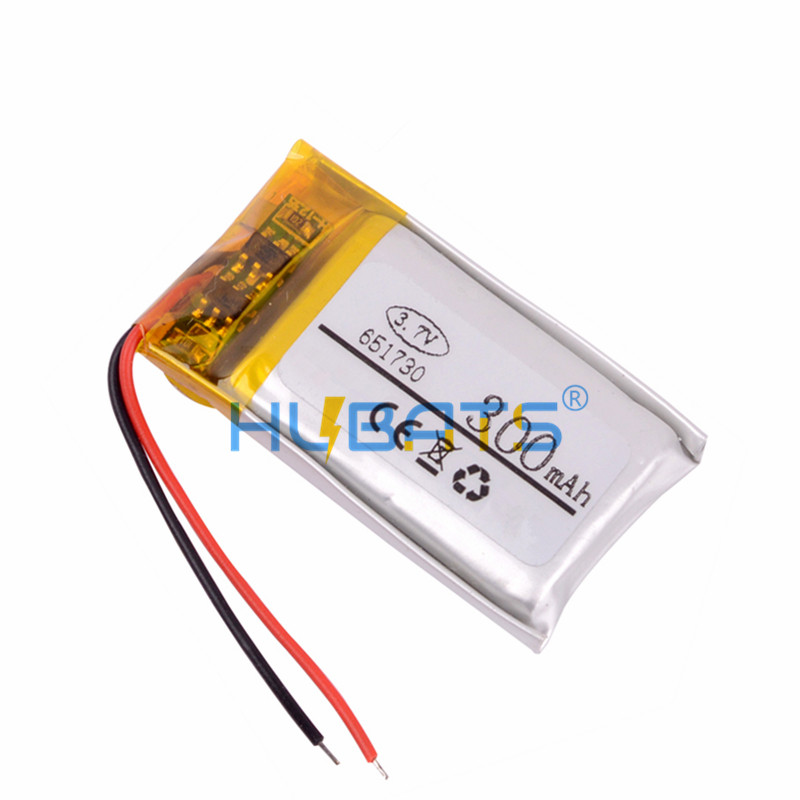 Hubats 651730 300mAh 3.7v lithium polymer battery for small toys MP3 MP4 GPS navigation mobile power