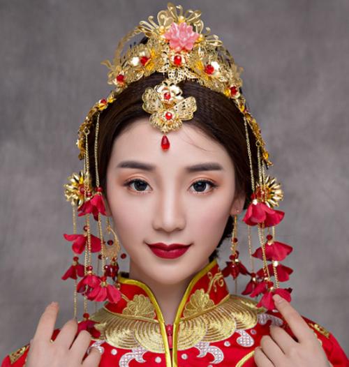 Chinese gold leaf flower bridal headdress
