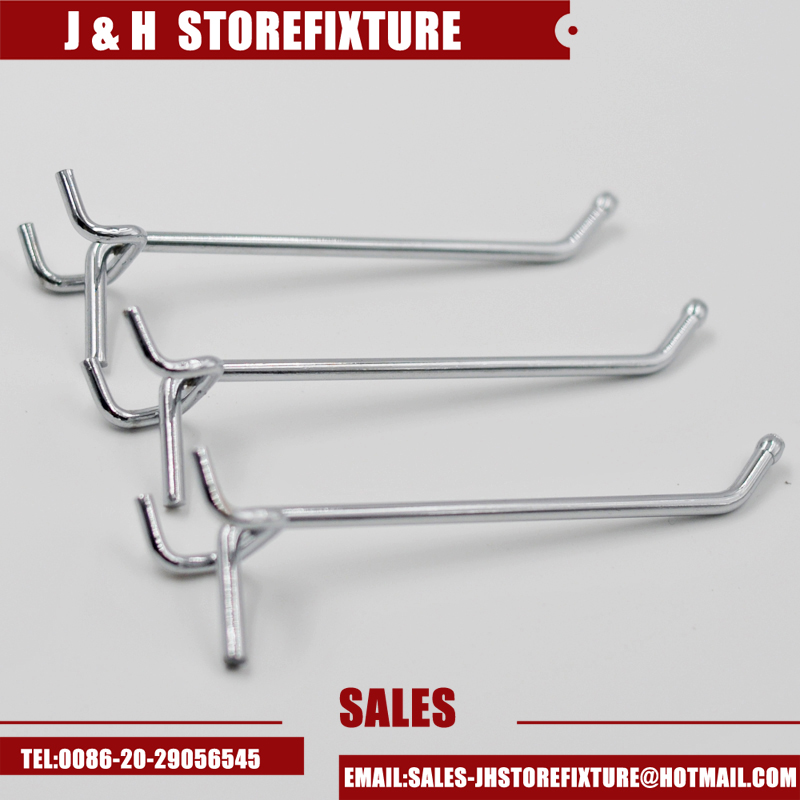 Chrome plating slatwall pegboard security display hook