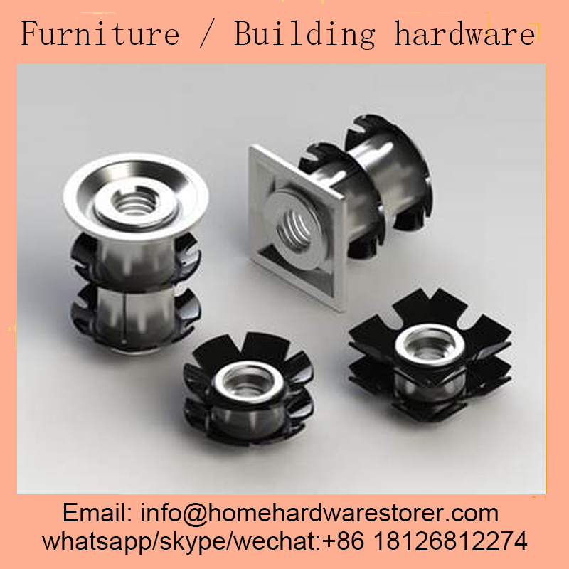 Threaded insert zinc-plated steel square tube-end