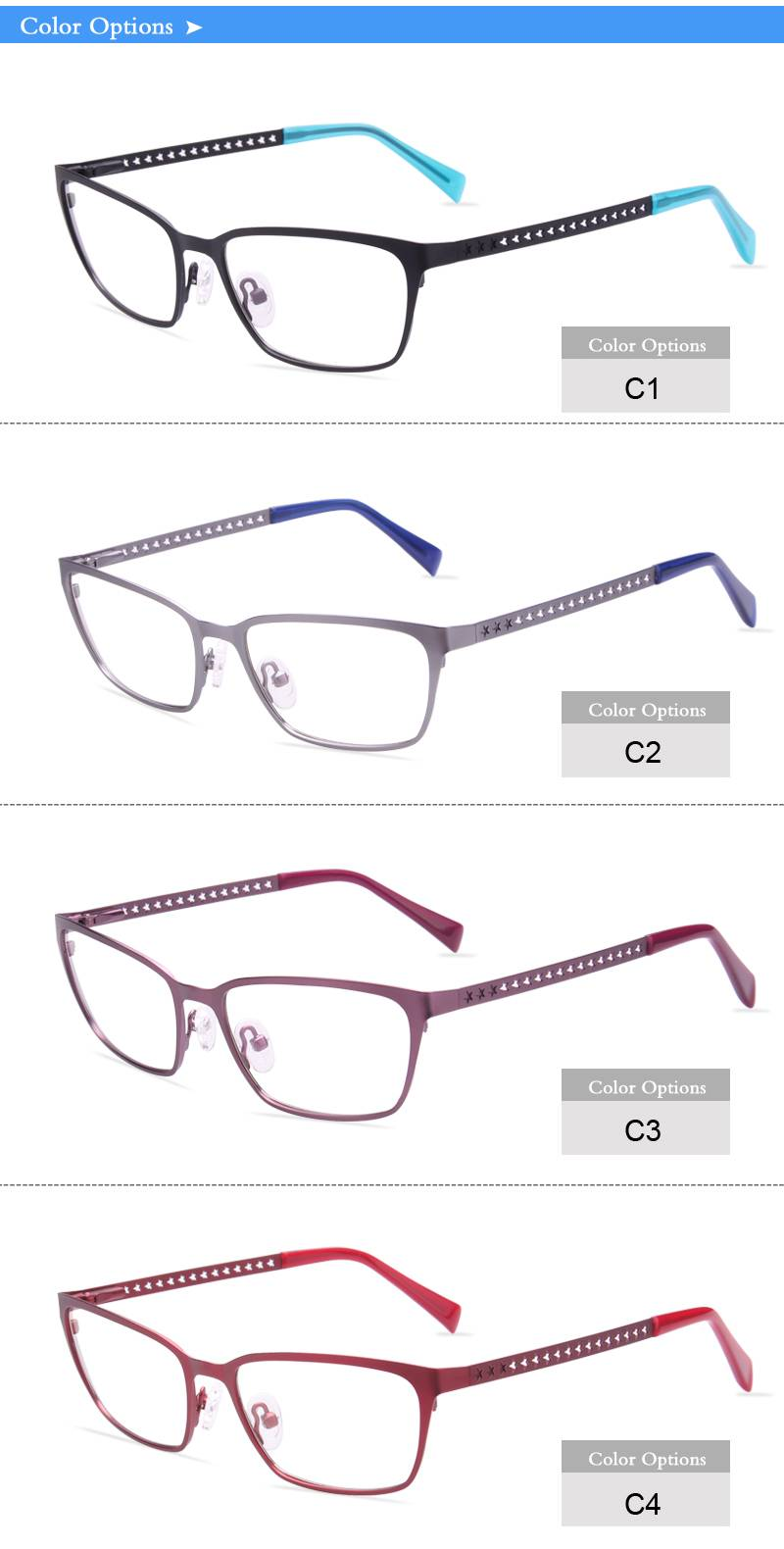 Fashion design flexible super light weight stainless steel metal optical frame ready in stock JC6624