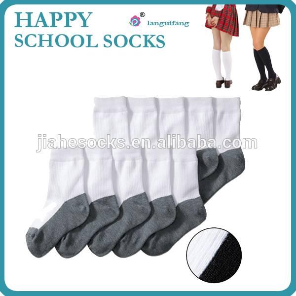 Double color school student socks, white/black student socks