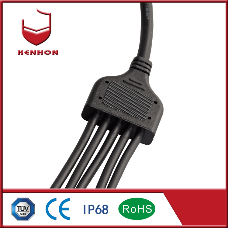 Y type IP68 12v 5 pin 3 way waterproof plug electrical connectors for outdoor electrical connections