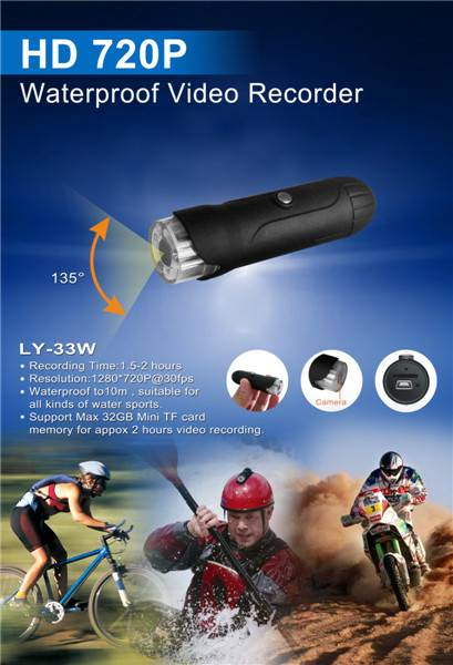 LY-33W 720P HD Waterproof MINI Video Camera with 135 video angel