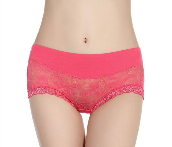 Hipster Fashionable Modal Lace assorted solid Color brief Panties -5073#