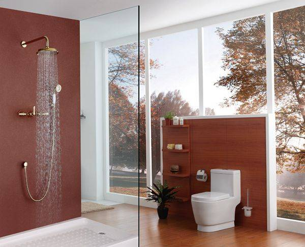 Contemporary brass golden in-wall bathroom concealed faucet