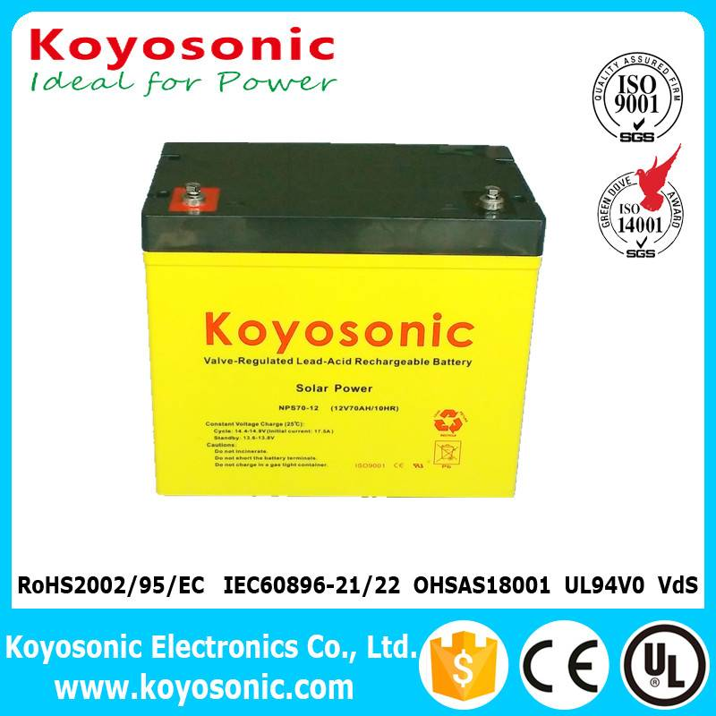 Rechargeable 12V 70AH Solar System Battery Gel Battery