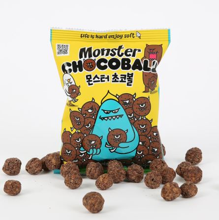 Rich chocolate flavored snack monster chocoball