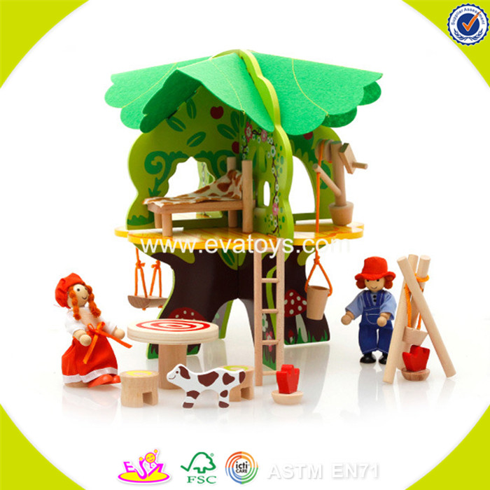 2017 wholesale baby new wooden diy tree house funny kids wooden diy t