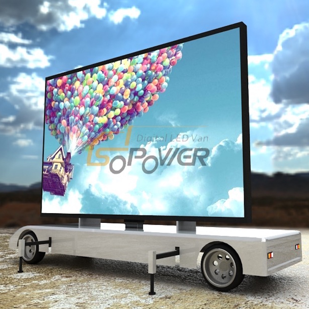 SoPower Outdoor Movable LED Advertising Trailer with Hydraulic Folding System