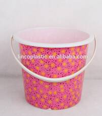 Plastic 10L round water bucket with handle printed decal design