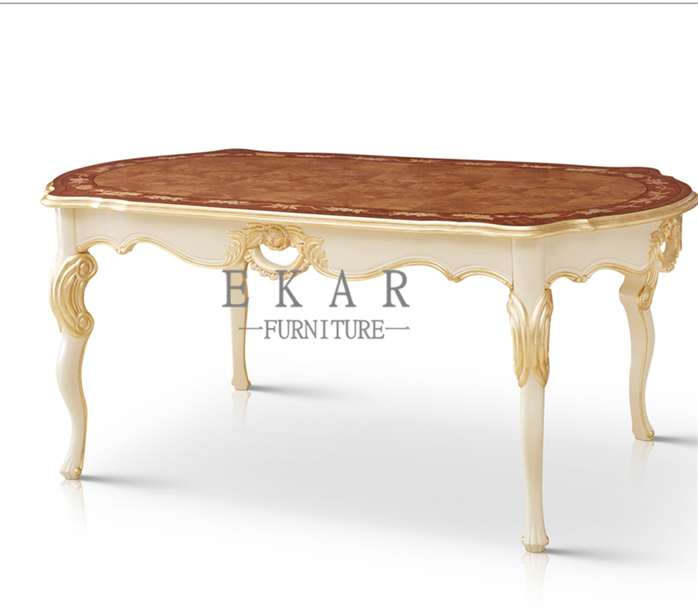 Alibaba Luxury Classic 6 persons Solid Wood Carved Dining Table