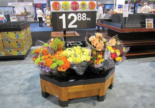 Floral Display Orchard Bin Style, Wood Flower Display Table