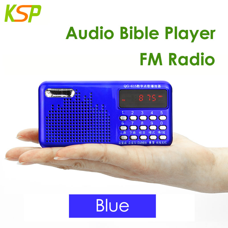 QG-615 OEM Portable Audio Bible Mini Digital FM Radio with Stereo Speaker