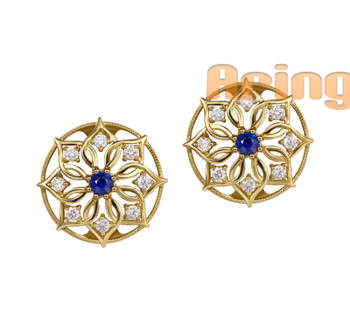 Wholesale 18k Gold Jewelry Sapphire earrings solid gold jewelry