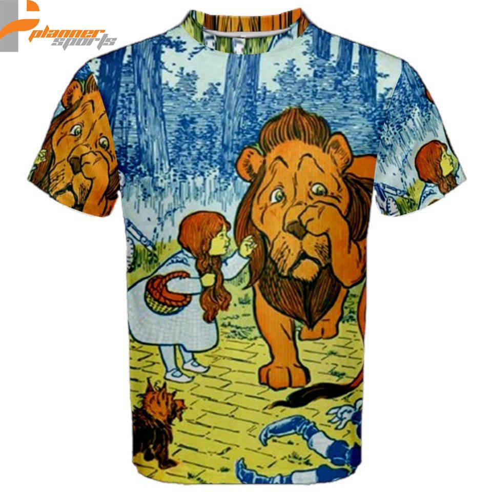 Wizard of Oz Cowardly Lion Toto Sublimated Sublimation T-Shirt S,M,L,XL,2XL,3XL