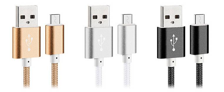 nylon braided metal casing data sync charging micro USB cable