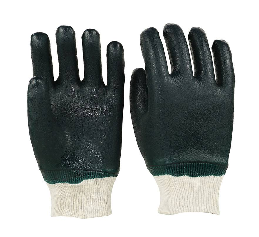 26cm green sandy finished double coated PVC working safety gloves