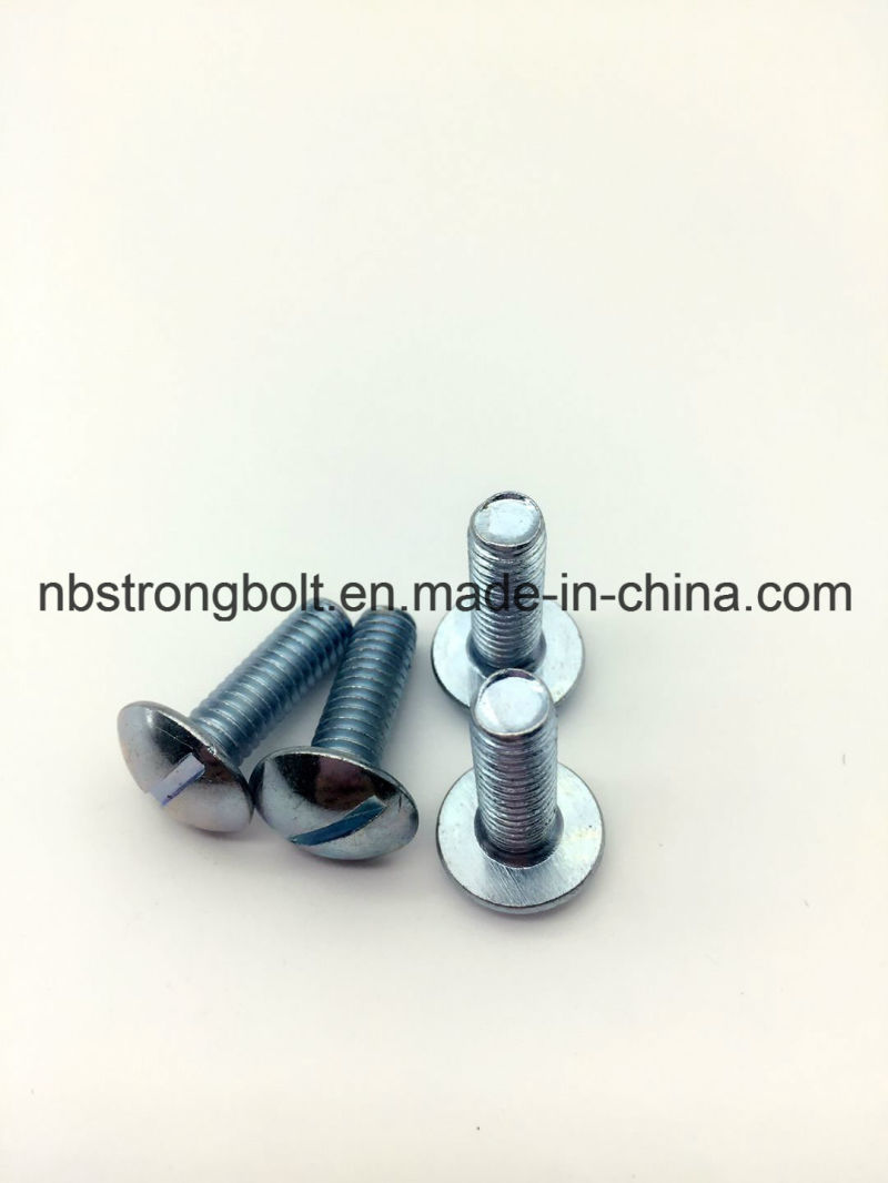 Mushroom Head Slotted Machine Screw with White Zinc Plated Cr3+
