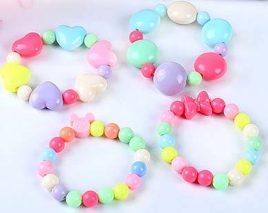 New Fashion Girl Rainbow Color Silicone Circular bead Bracelet