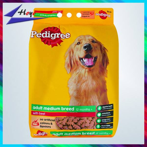 Customized printed plastic pet food packaging bag