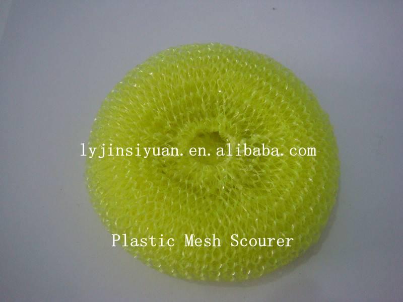 Plastic mesh scourer/scrubber,popular net scourer