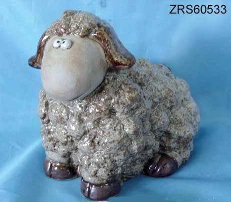 Ceramic glazed sheep figurine
