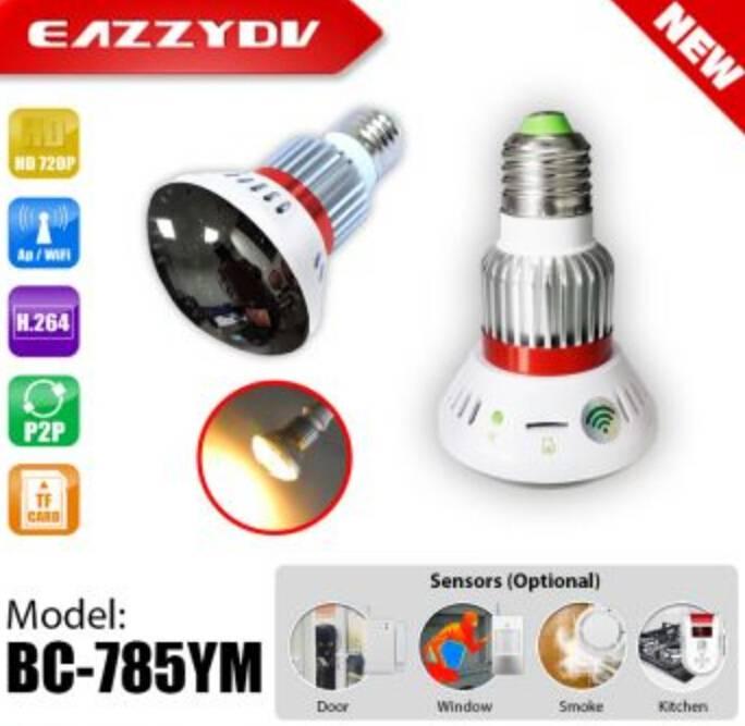 BC-785YM HD720P Mirror WiFi Bulb IP Network DVR Camera with 5W Warm Light+Wireless alarm