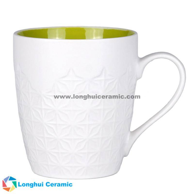13oz Personalized embossed white exterior color interior ceramic coffee mug