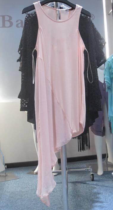 2016 Ladies Unique design pink dress