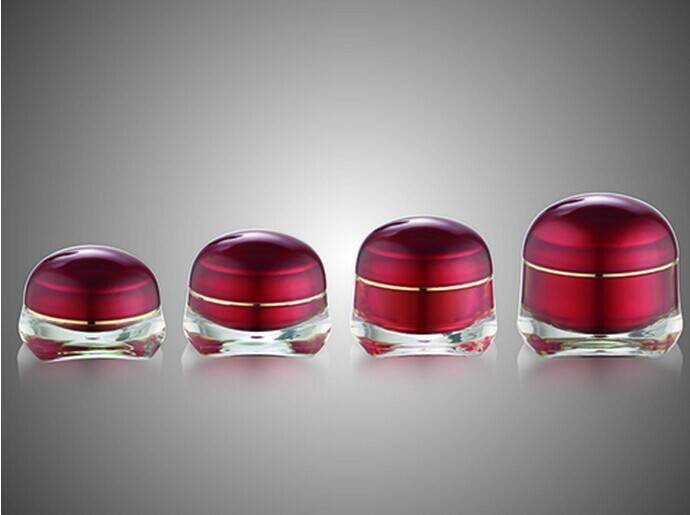 Red fancy jellyfish shape acrylic cream jar