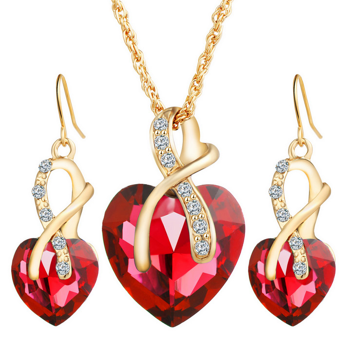 Luxury Heart Shape Crystal Pendant Party Jewelry Set