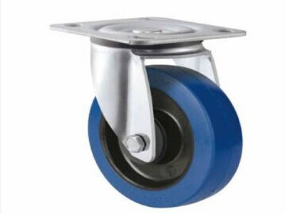 Blue elastic rubber swivel caster China suppier