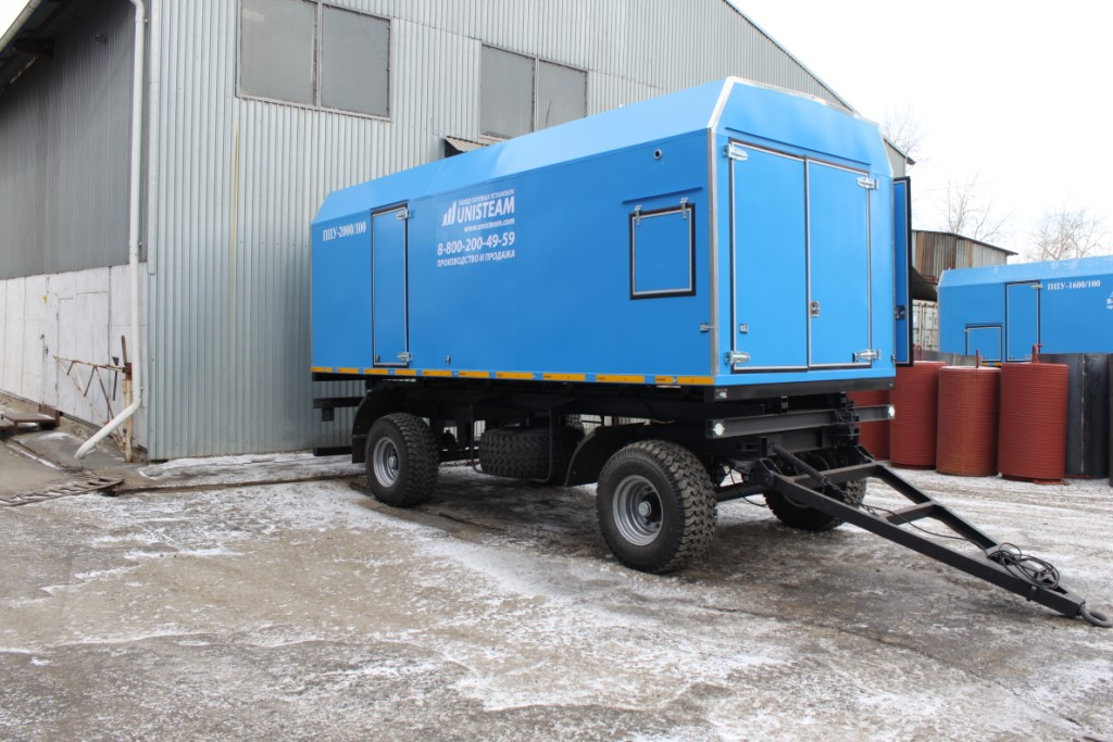 UNISTEAM-MPD 2500/160 Portable Industrial steam generator with diesel generator compartment