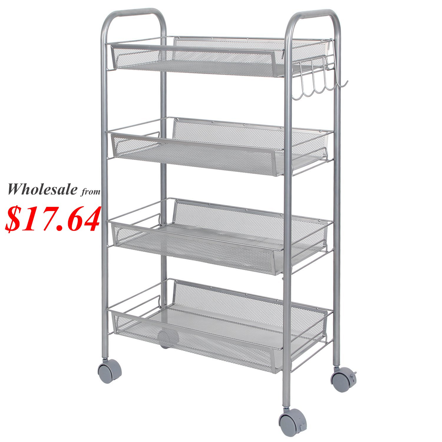 Lifewit Metal Mesh Storage Units Rolling Cart with 4 Shelves