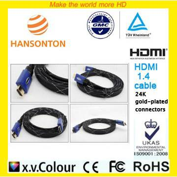 Lowest price blue shell mesh 1.4v HDMI CABLE