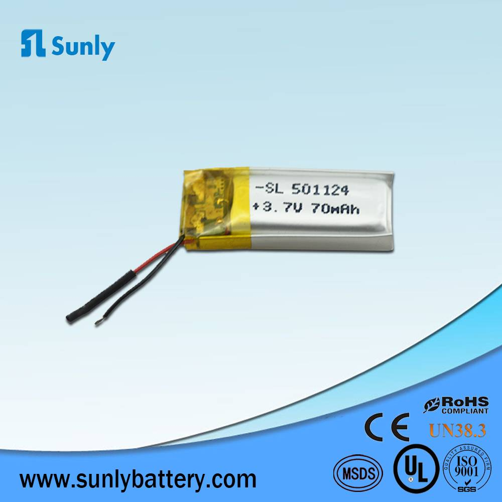 501124 rechargeable battery 3.7V 70mAh lithium ion battery pack