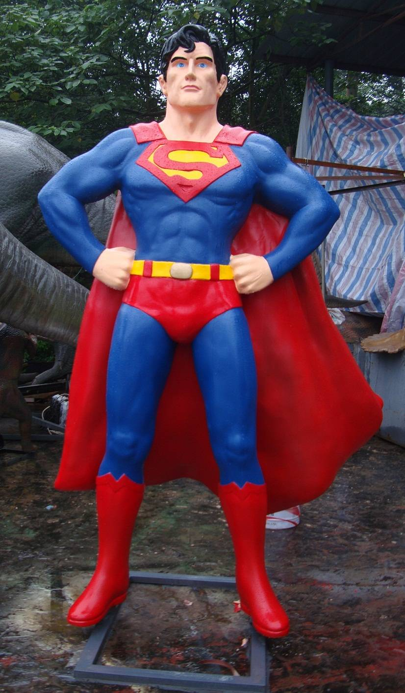 Fiberglass Movie Characters of  Life Size Superman Sculpture