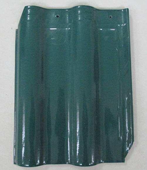 pecock green ceramic galzed tile on roof
