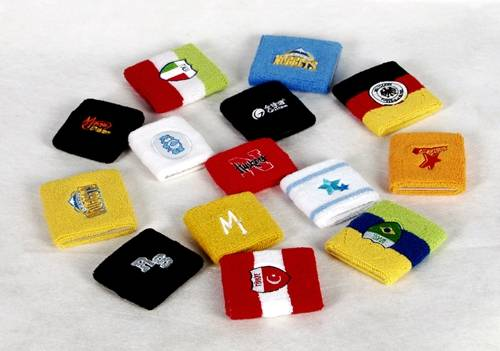 knitted sports sweatband with embroidery