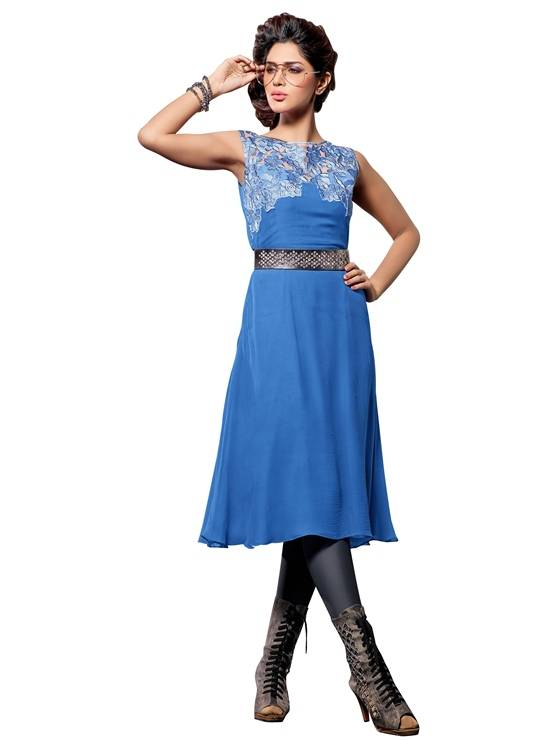 Shonaya Blue Colour  Embroidered Georgette Stitched Kurti  MFHNR-60004