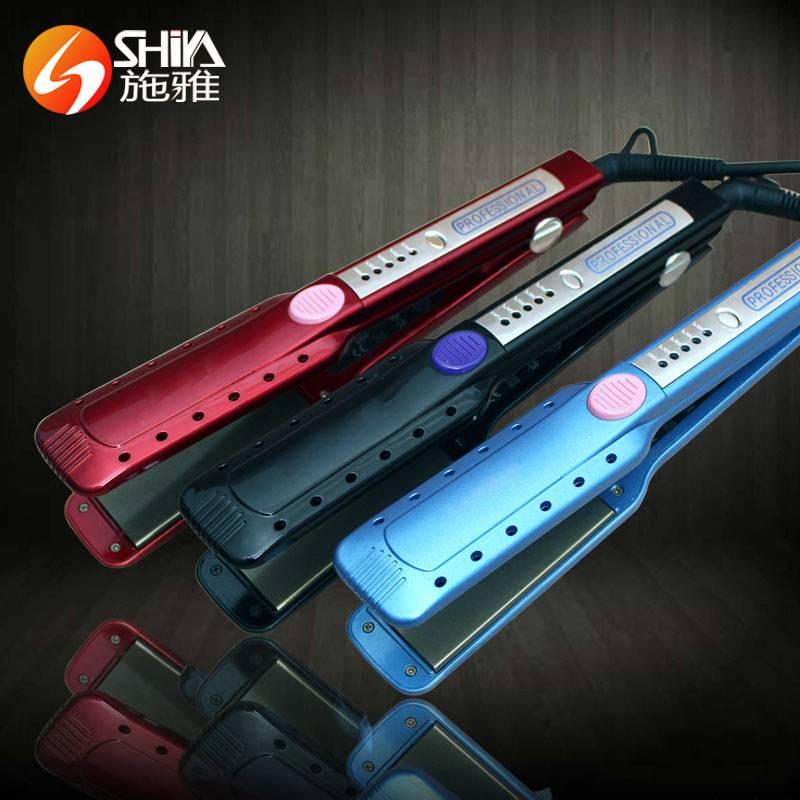 Newest 1/4in.titanium ironic professional her styler hair straightener flat iron with LED steam