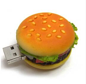 Hot hamburger design plug play PVC USB flash drive