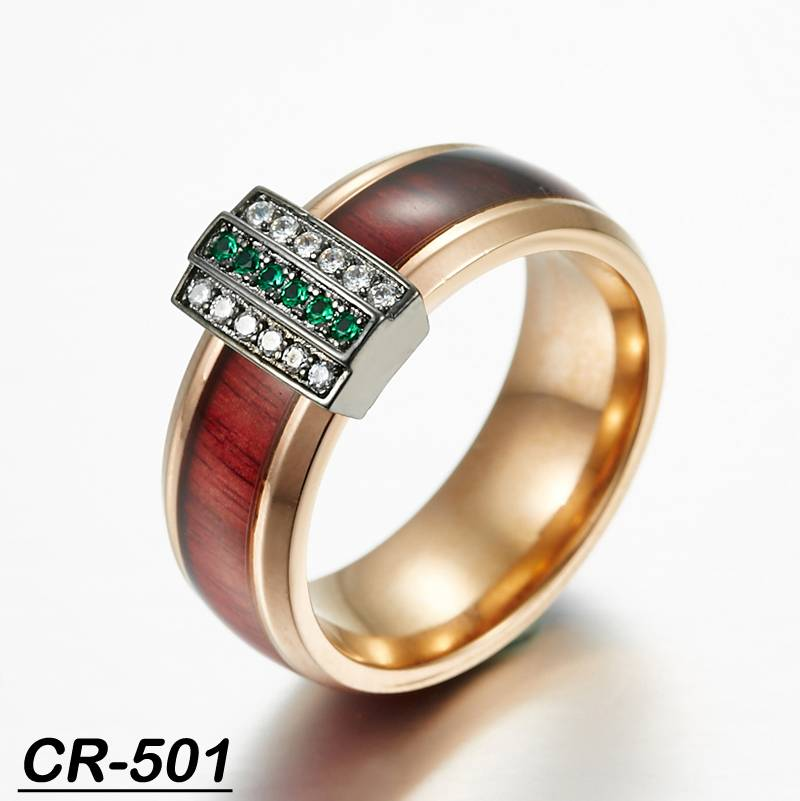 new arrival tungsten carbide ring with wood and zircon inlay jewelry rose gold