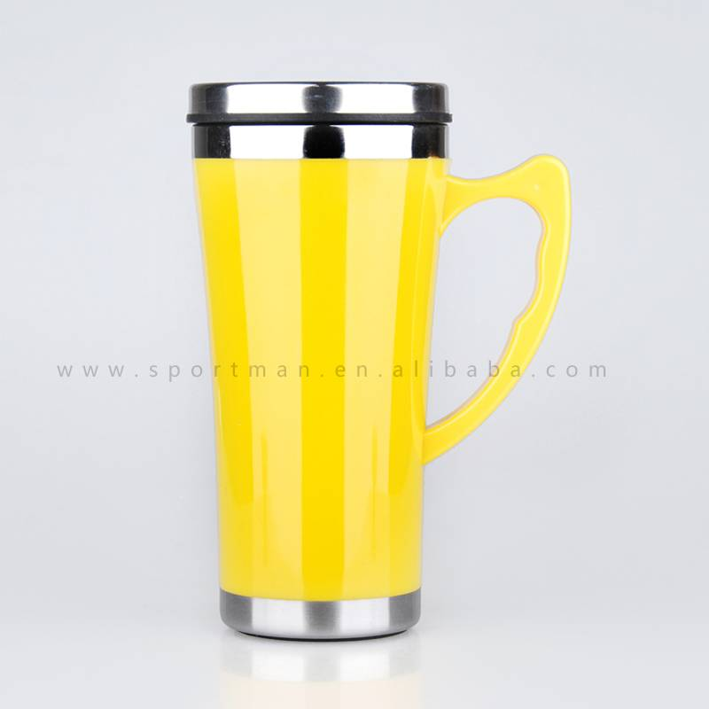 High Quality Travel Mug Double wall plastic outside coffee mug with handle and lid,colorful
