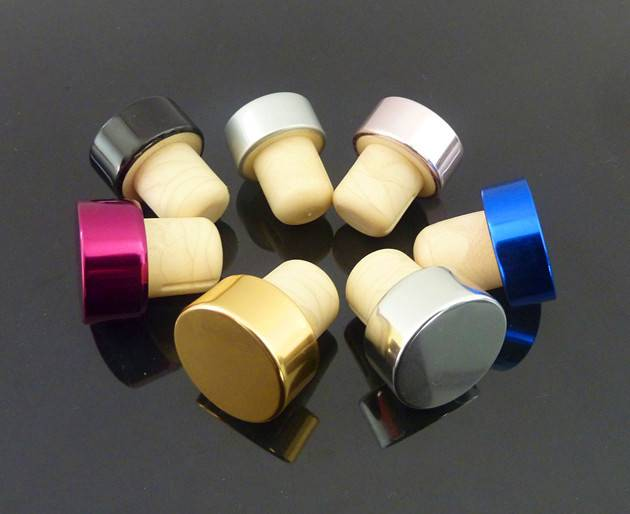Colored Aluminium cap Synthetic cork for bottle