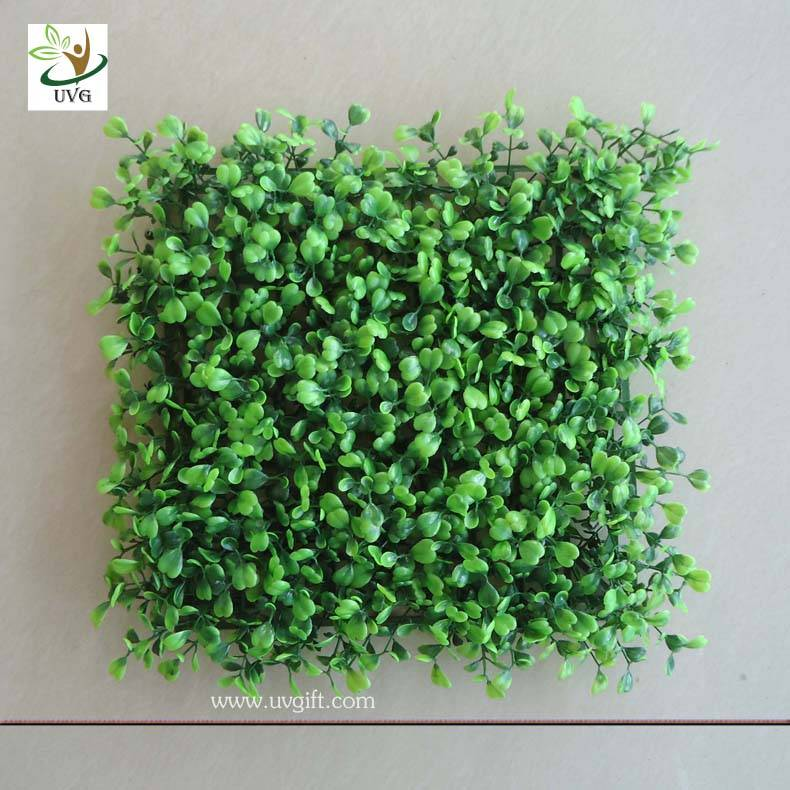 UVG GRS01 UV protected green plastic grass panels faux boxwood for garden wall decoration